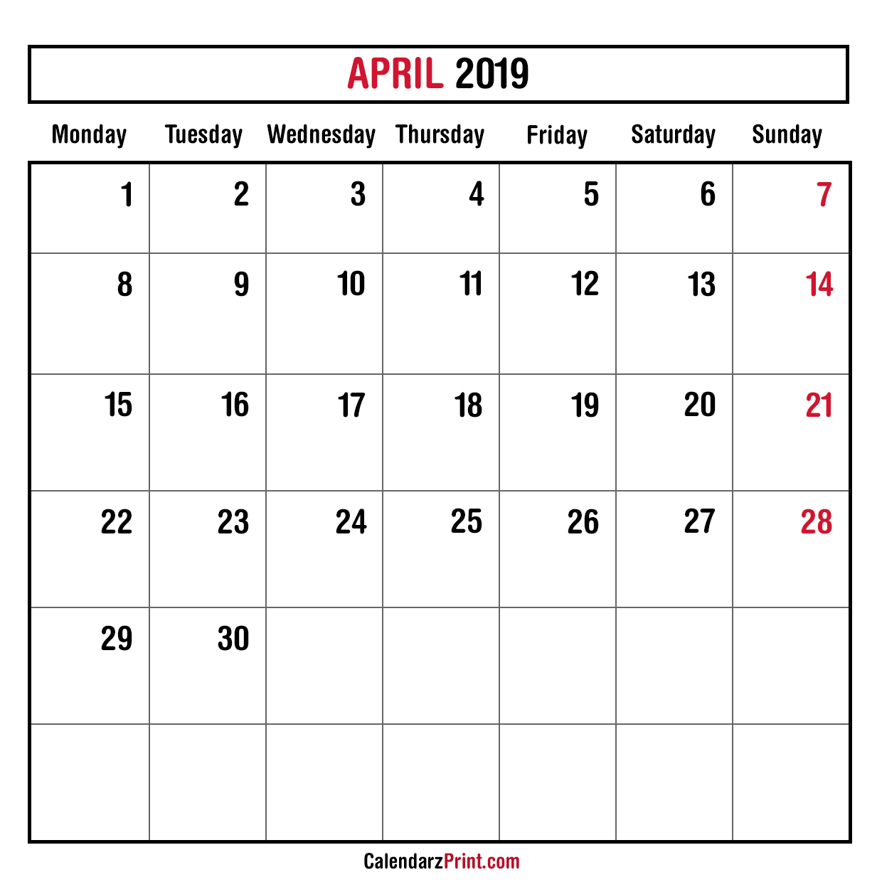 Monthly Planner April 2019 Printable Monthly Calendar Free