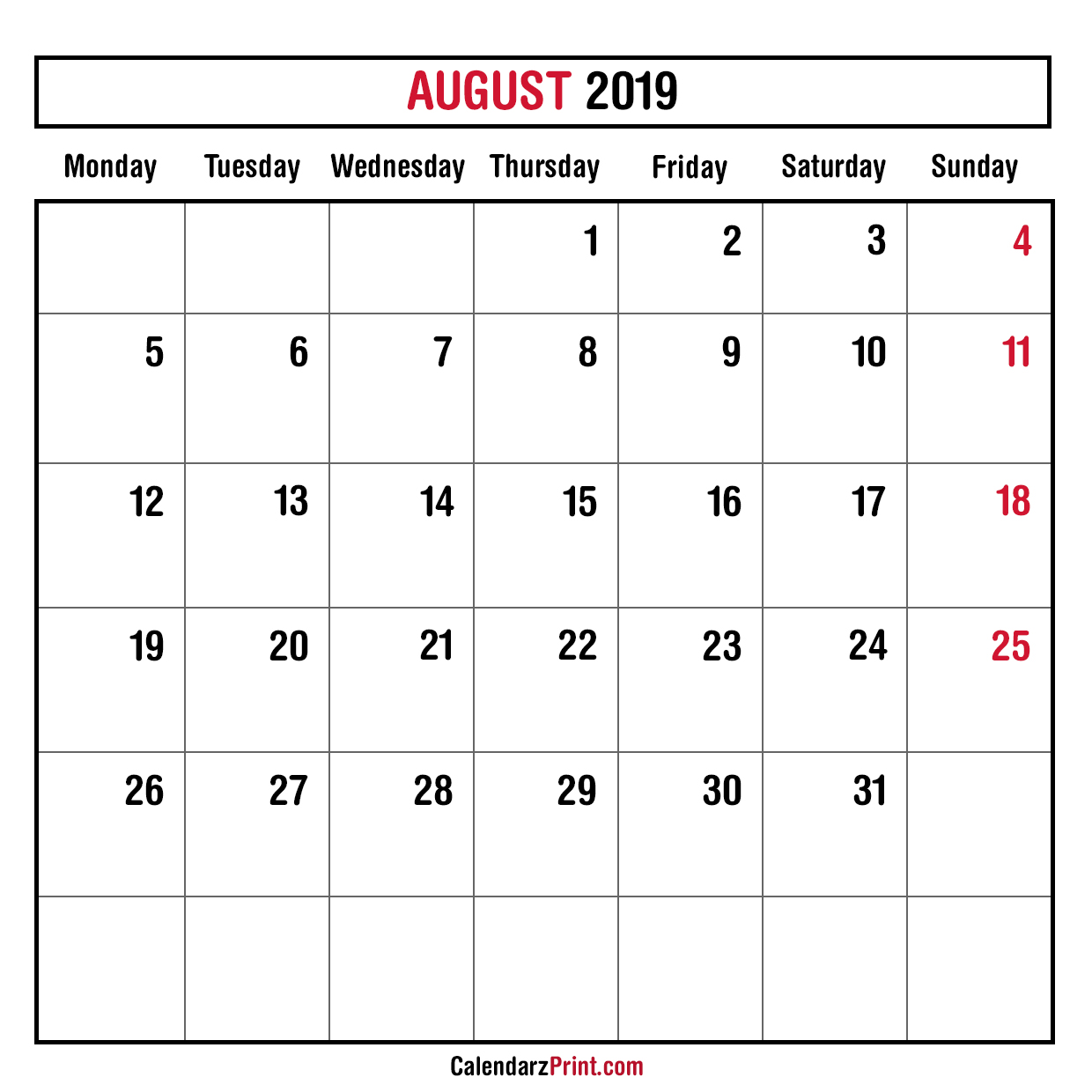 August 2019 Calendar Printable Monday Start.Monthly Planner August 2019 Printable Monthly Calendar Free