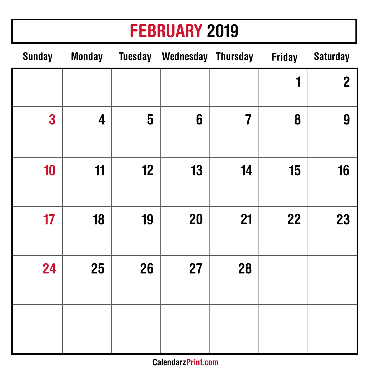 Monthly Planner February 2019 Printable Monthly Calendar Free