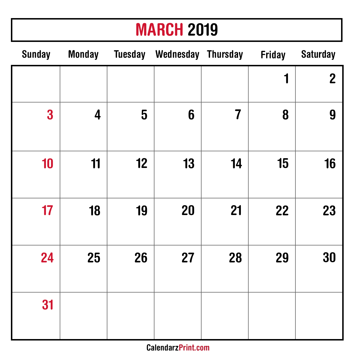 Monthly Planner March 2019 – Printable – Monthly Calendar