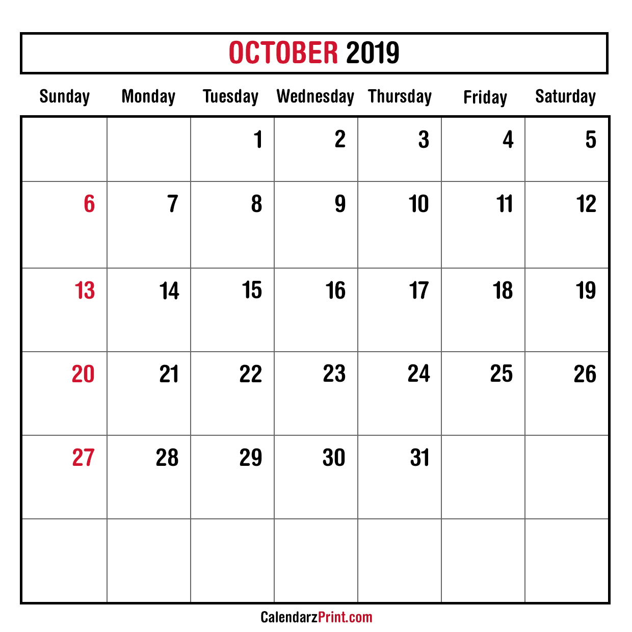 Monthly Planner October 2019 Printable Monthly Calendar Free