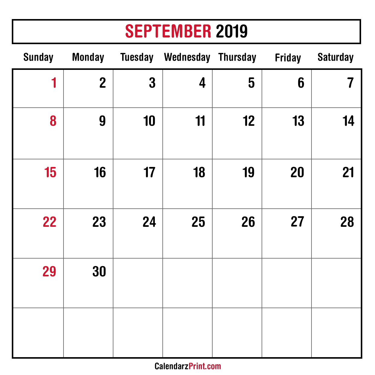 Monthly Planner September 2019 Printable Monthly Calendar Free