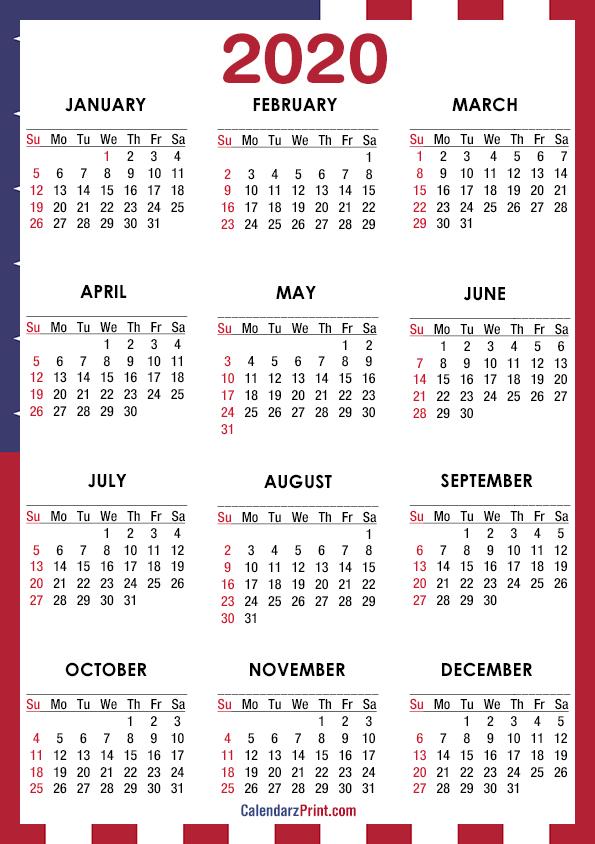 2020 Calendar – Page 9 – CalendarzPrint | Free Calendars