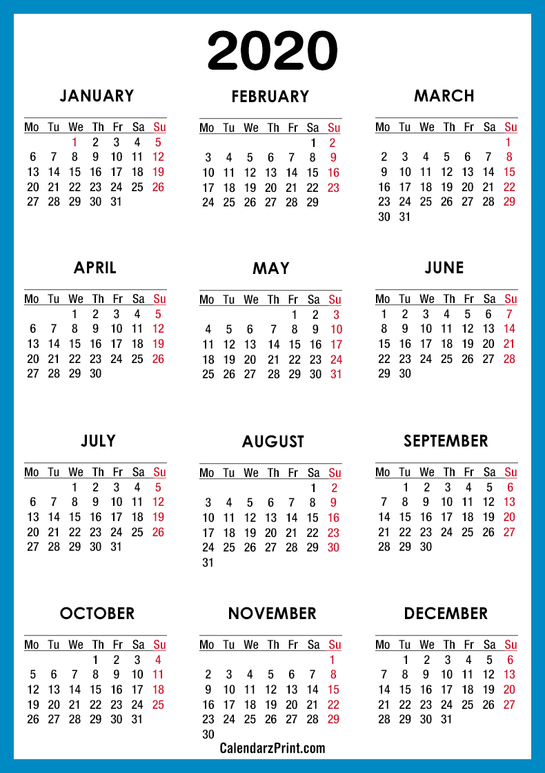 2020 calendar  u2013 printable free  u2013 blue  u2013 monday start