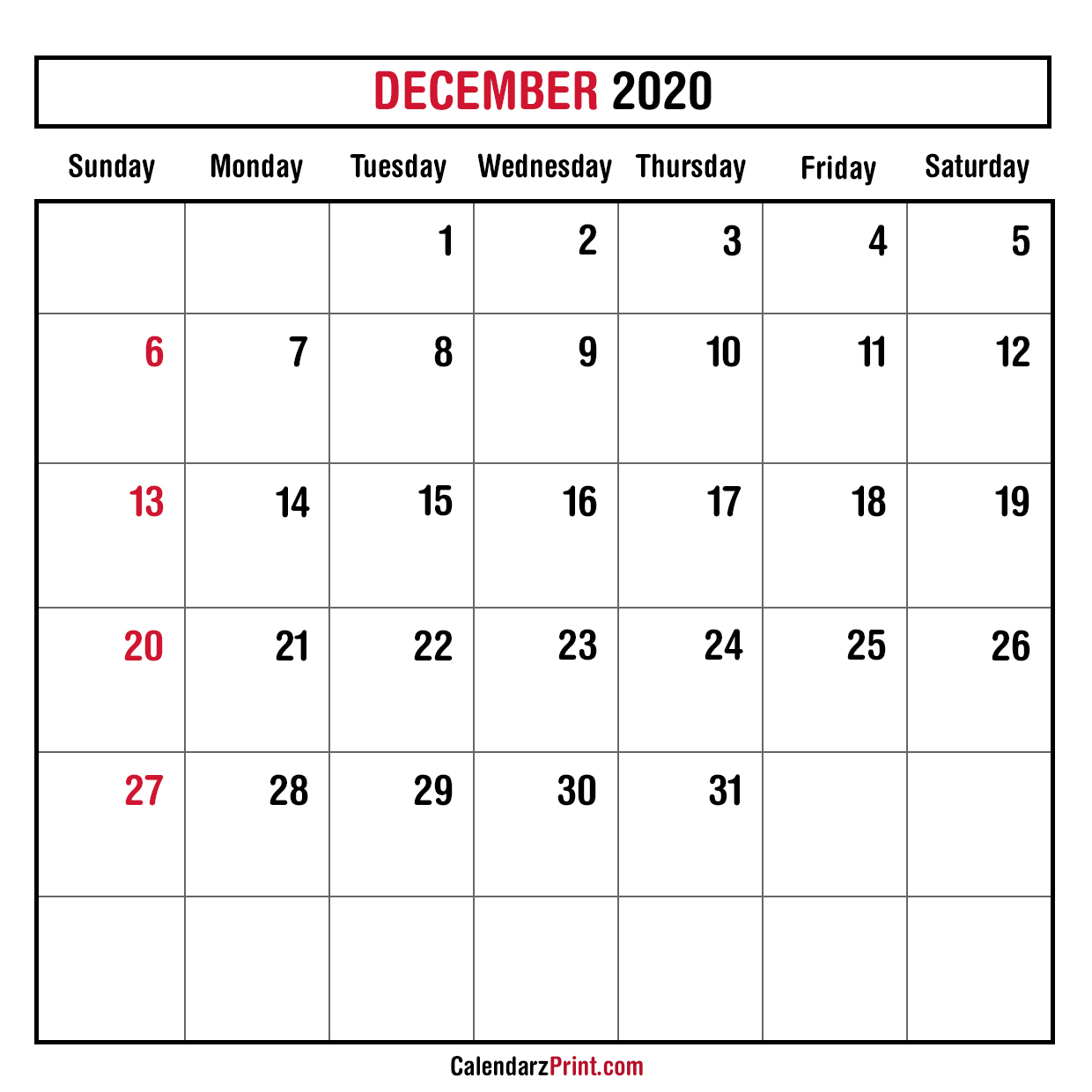 December 2020 Monthly Planner Calendar Printable Free Sunday