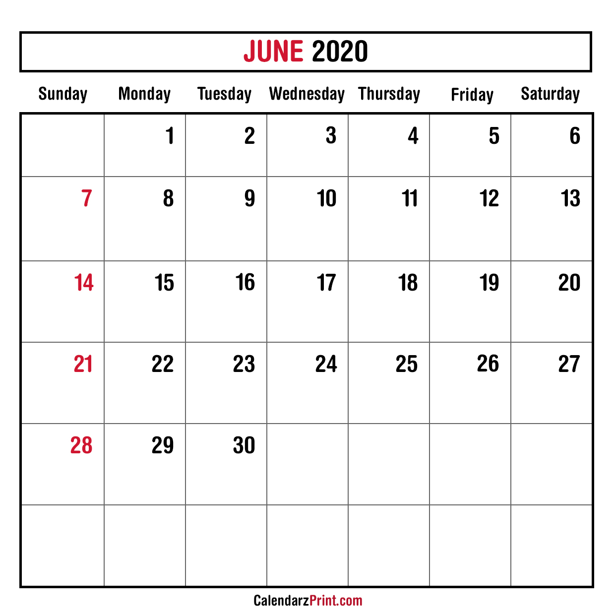 June 2020 Monthly Planner Calendar Printable Free Sunday Start