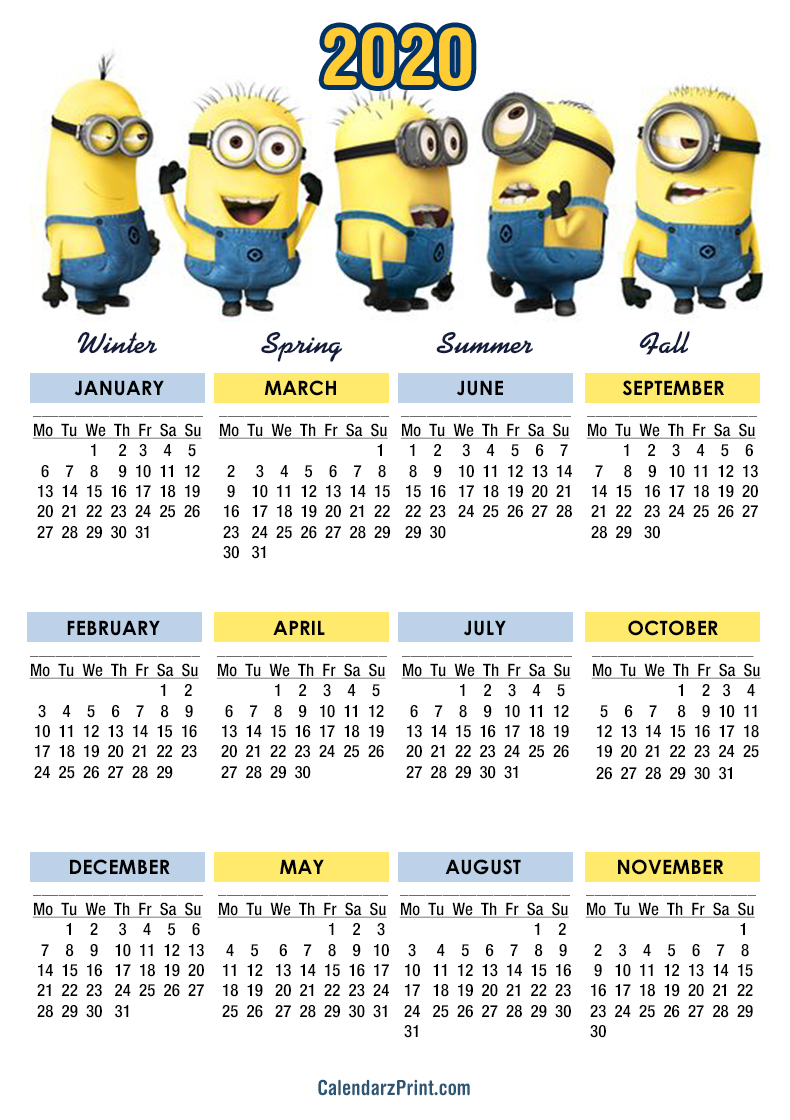 Minion Calendar 2020 2020 Calendar – Printable Free – Minions Calendars – Monday Start