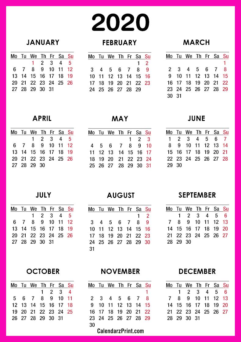 Pink 2020 Calendar 2020 Calendar – Printable Free – Pink – Monday Start