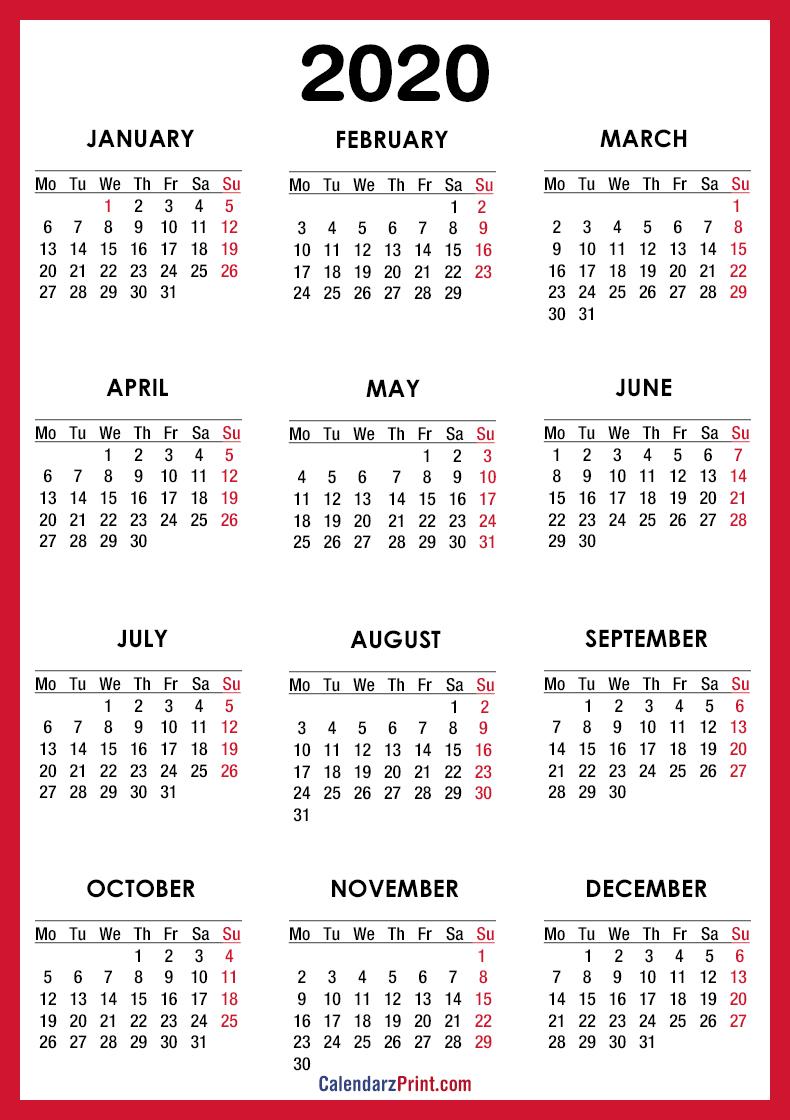 2020 calendar  u2013 printable free  u2013 red  u2013 monday start