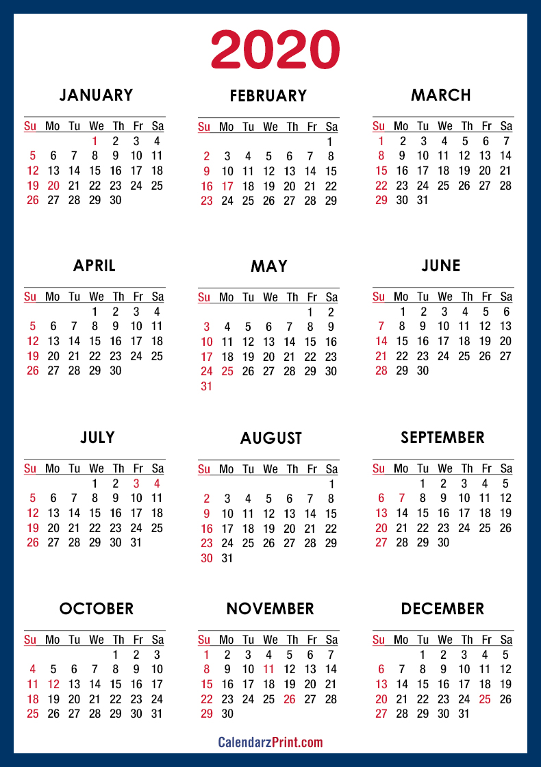 2020 Calendar Usa 2020 Calendar Printable Free with USA Holidays – Blue – Sunday