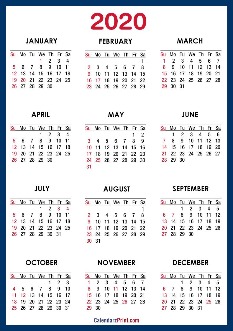 2020 calendar printable free with usa holidays  u2013 blue