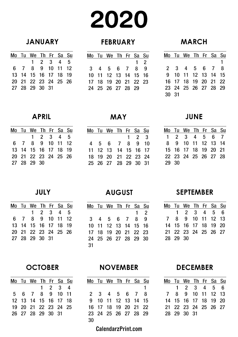 image about Free Printable 2020 Calendar known as 2020 Calendar Printable Absolutely free White Monday Get started