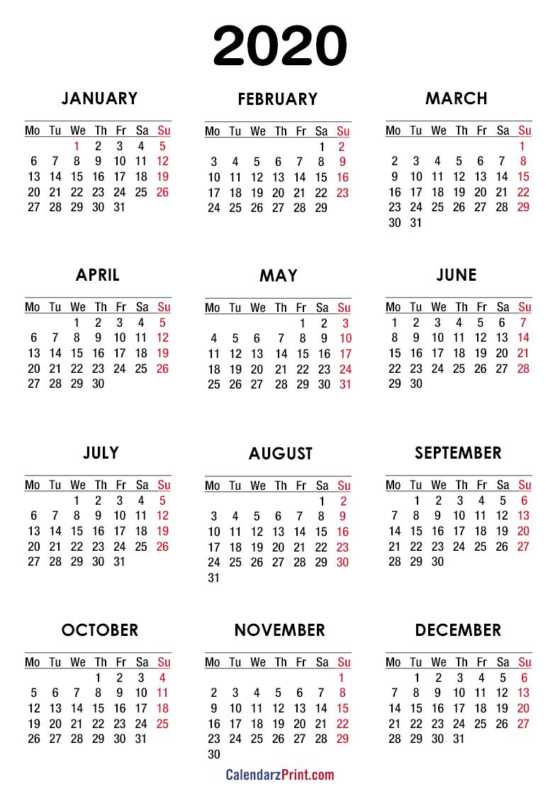 2020 Calendar - Printable Free - White - Monday Start ...