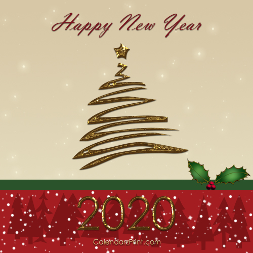 Free Christmas Postcard 2020 New Year Card 2020 – Printable Free New Year Cards – Golden