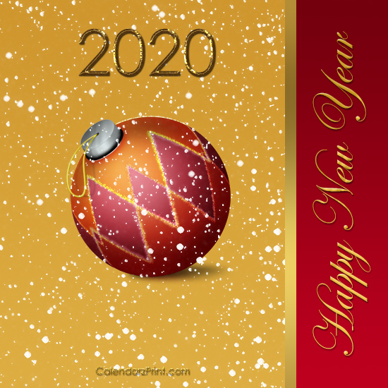 picture regarding Printable New Year Cards named Clean Yr Card 2020 Printable Cost-free Contemporary Calendar year Playing cards