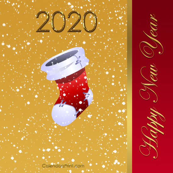 image relating to Printable New Years Cards identified as Contemporary 12 months Card 2020 Printable Cost-free Fresh new Calendar year Playing cards
