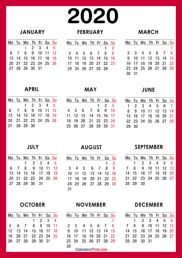 2020 Calendar – A4 Paper Size – Printable Free – Red – Monday