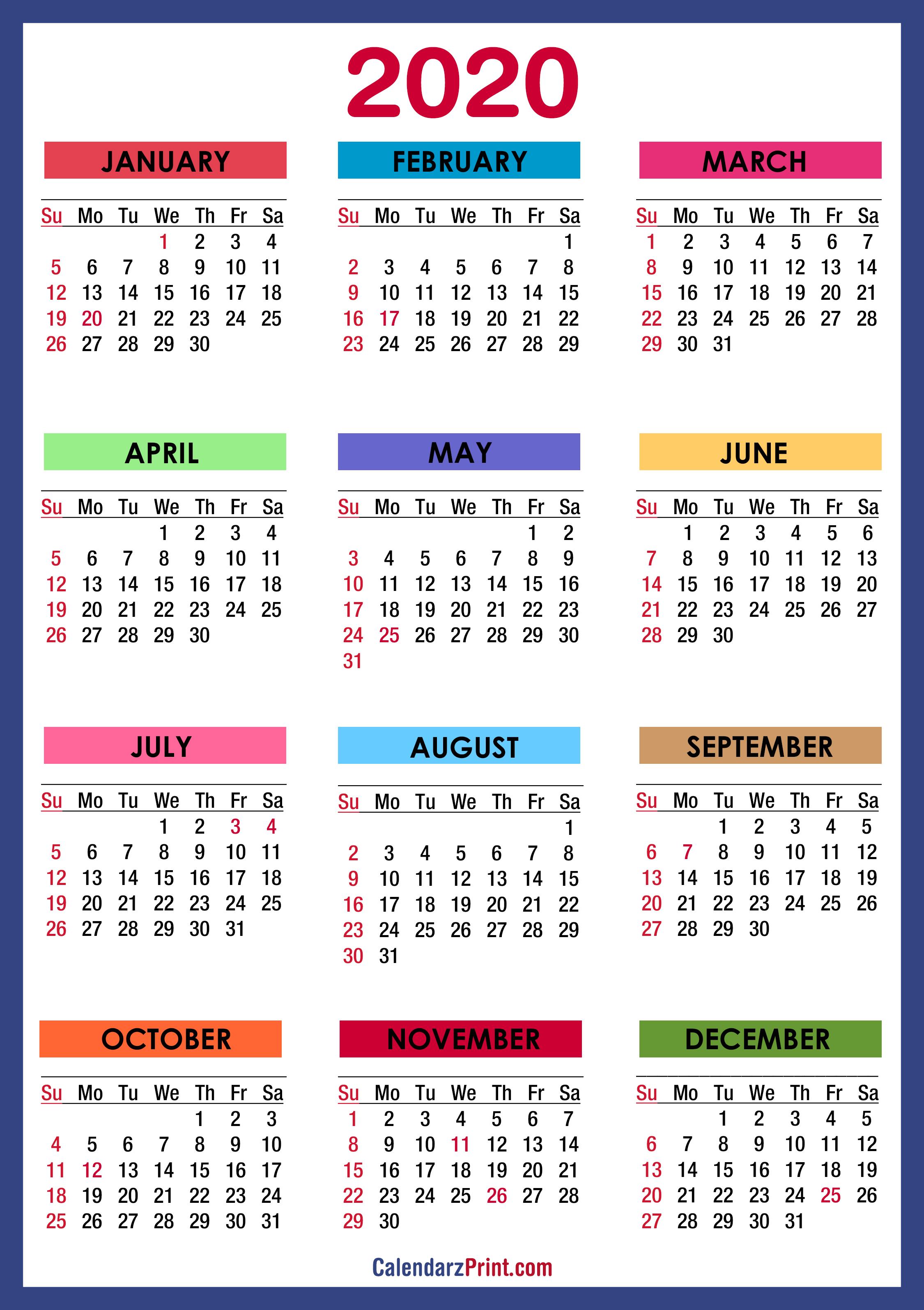 2020 Calendar With Holidays Printable Free Colorful Blue Green Sunday Start Calendarzprint Free Calendars Printable Calendars