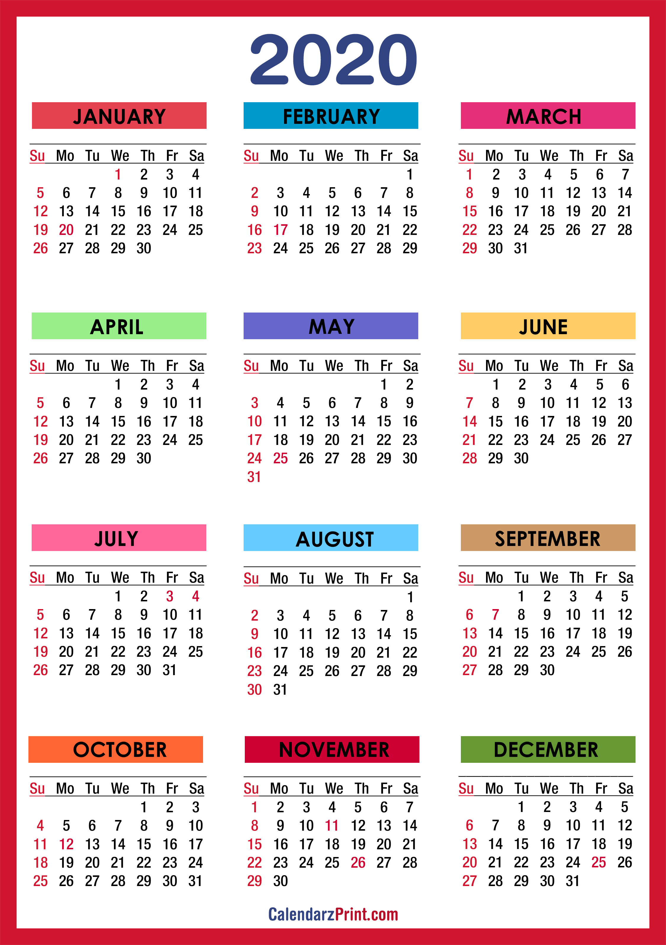2020 Calendar with Holidays, Printable Free, Colorful, Red ...