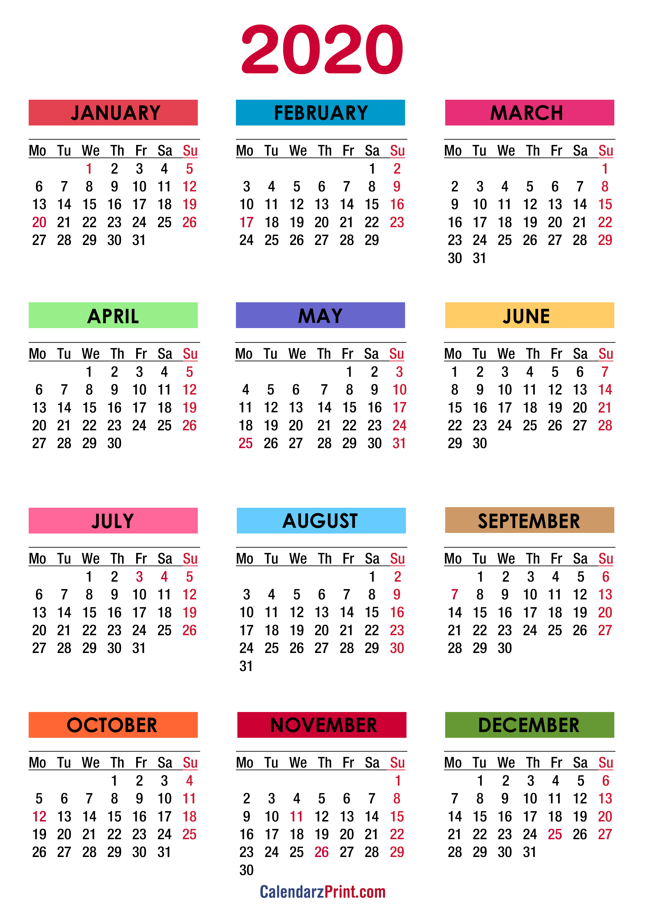 2020 calendar with holidays  printable free  colorful