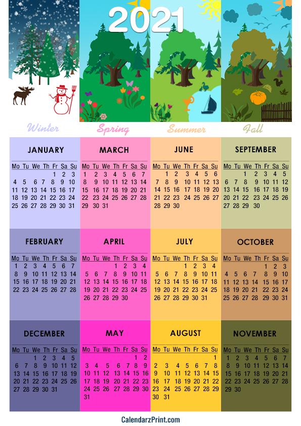 2021 Calendar, A4 Paper Size, Printable Free, 4 Seasons ...