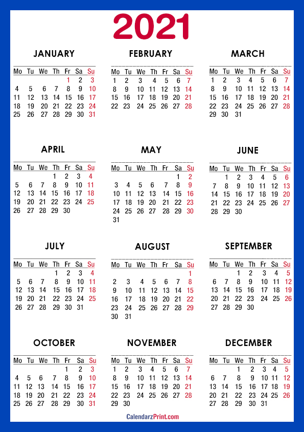 2021 Calendar, A4 Paper Size, Printable Free, Blue ...