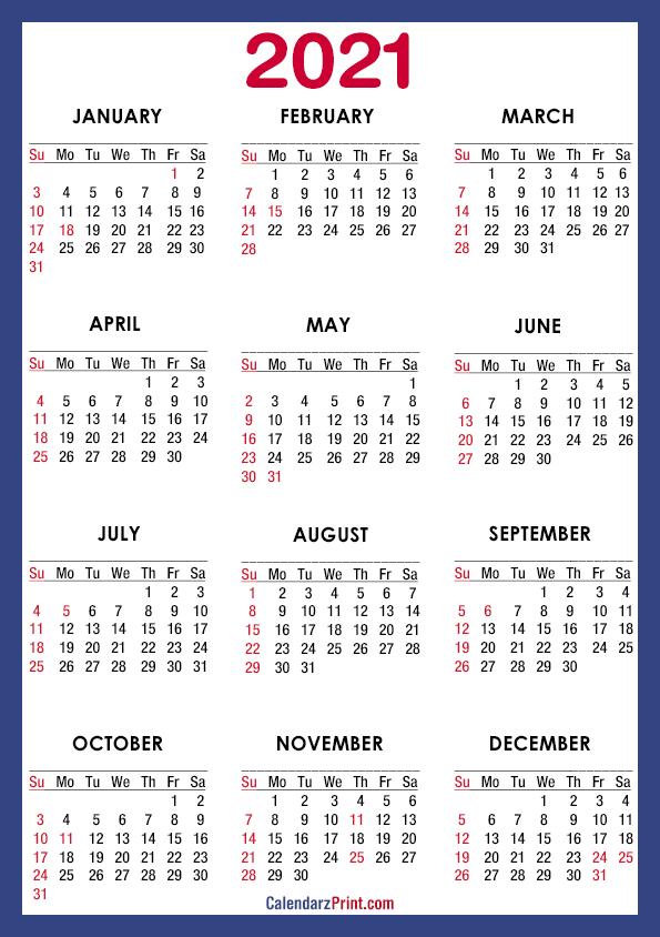 2021 Calendar Printable Free with USA Holidays, A4 Paper ...