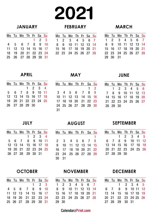 2021 Calendar, A4 Paper Size, Printable Free, White ...