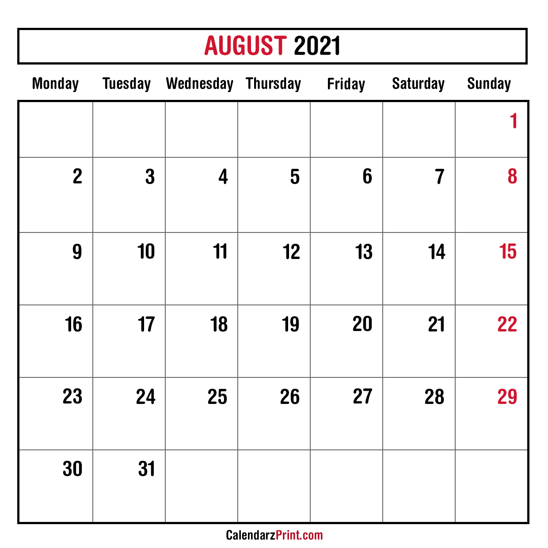 August 2021 Monthly Planner Calendar, Printable Free ...
