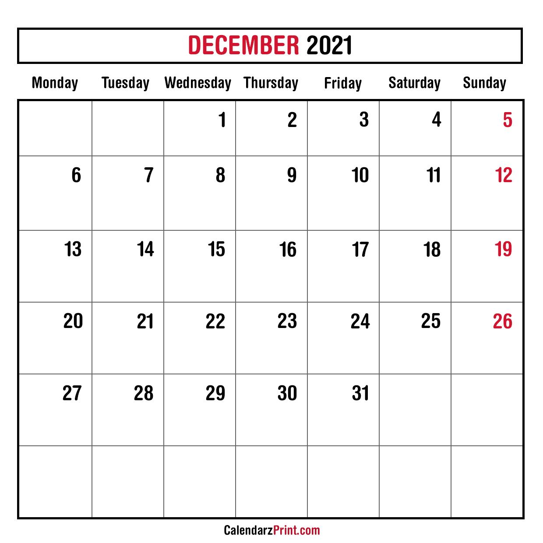 December 2021 Monthly Planner Calendar, Printable Free ...