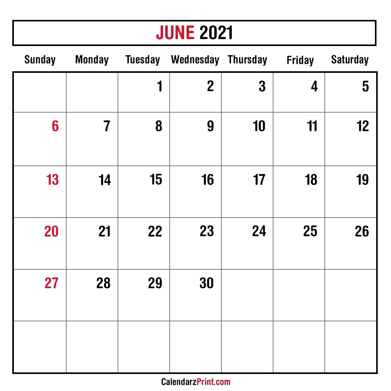 June 2021 Monthly Planner Calendar, Printable Free ...