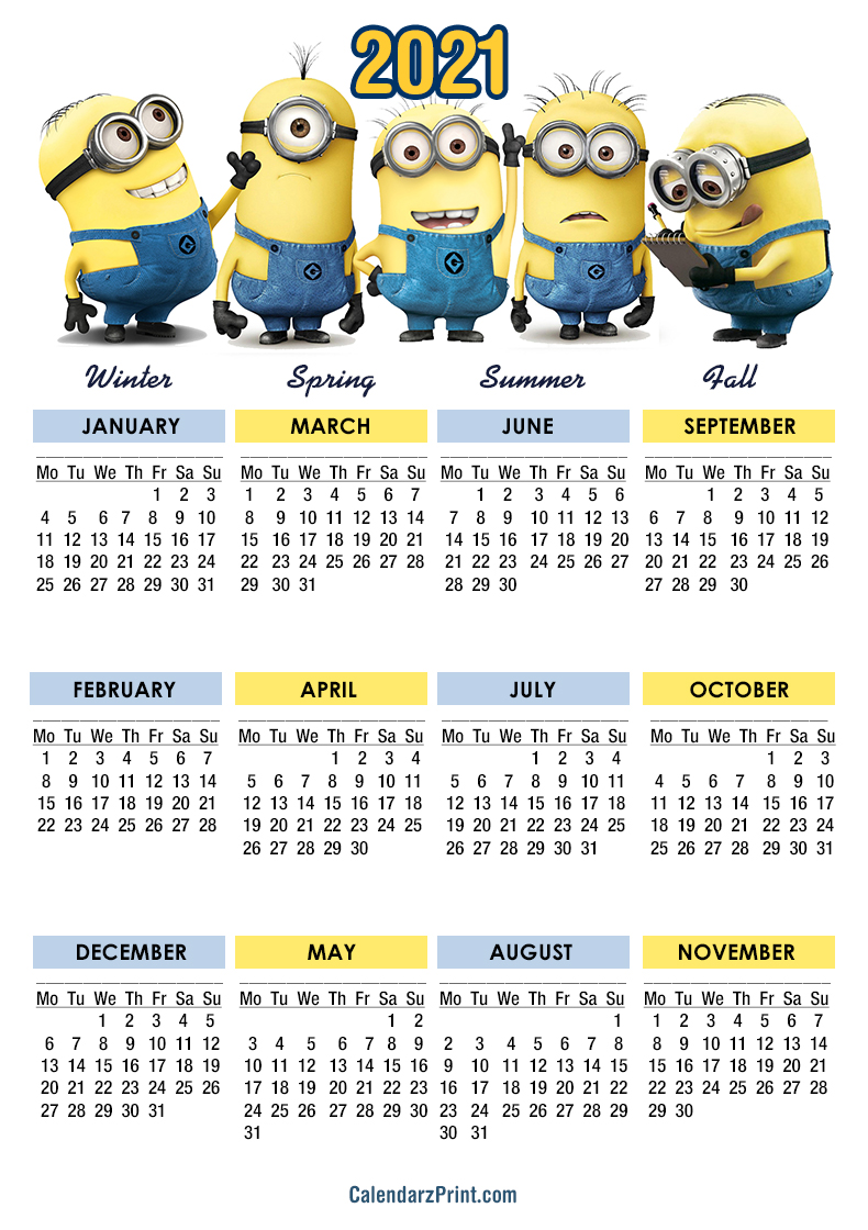 2021 Calendar, Printable Free, Minions Calendars – Monday Start