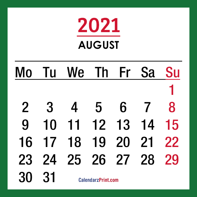 2021 Monthly Calendars, Printable Free, Green - Monday ...