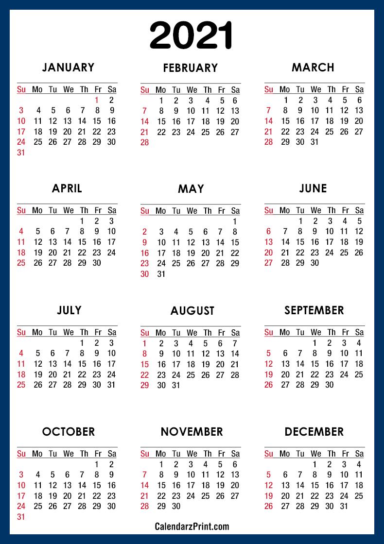 2021 Calendar PDF - Printable, Blue, SS - CalendarzPrint ...