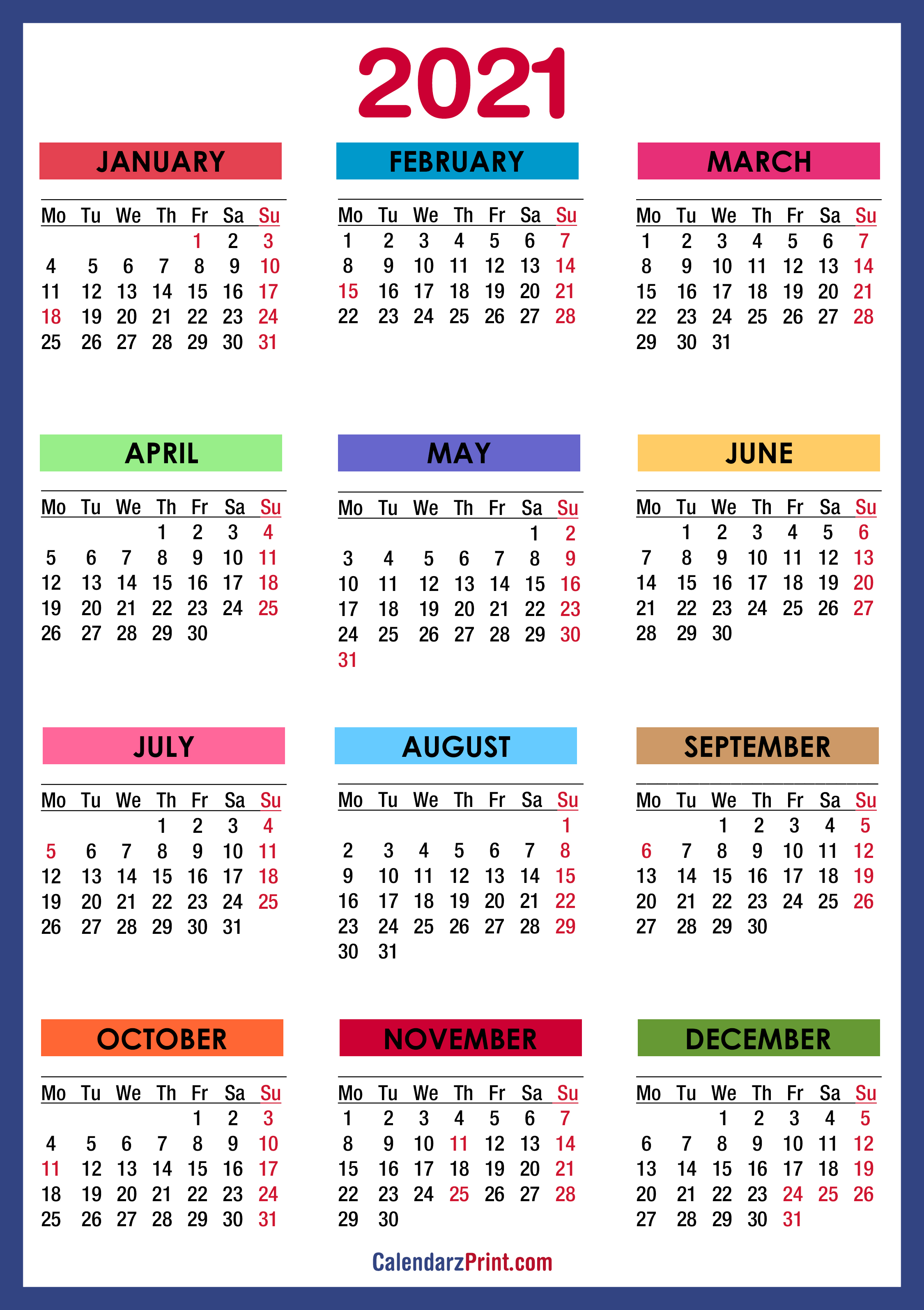 2021 Printable Calendar One Page With Holidays Photos