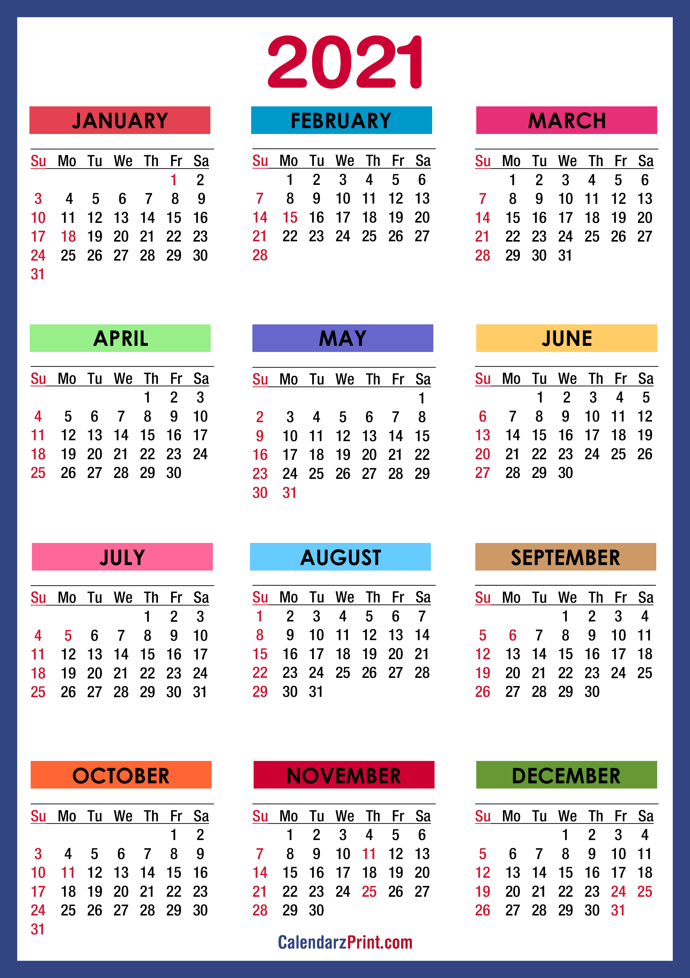 2021 Calendar with Holidays, Printable Free, Colorful, Blue, Green