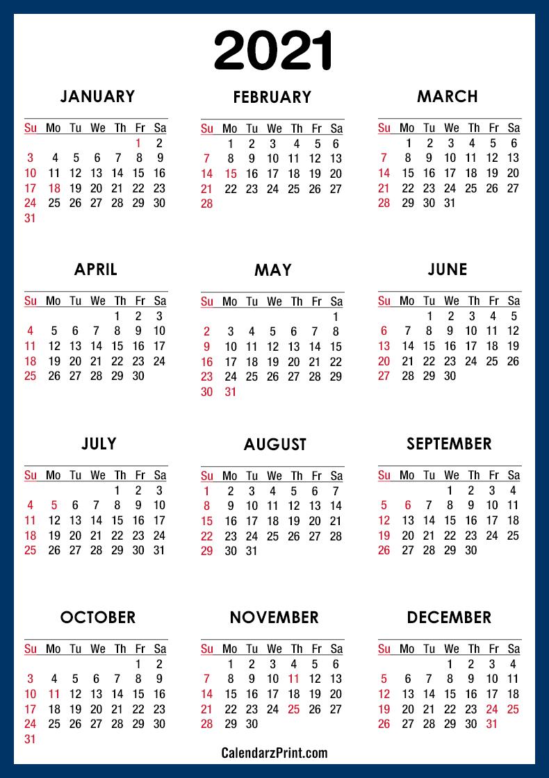 2021 Calendar Printable Free with USA Holidays, Blue ...