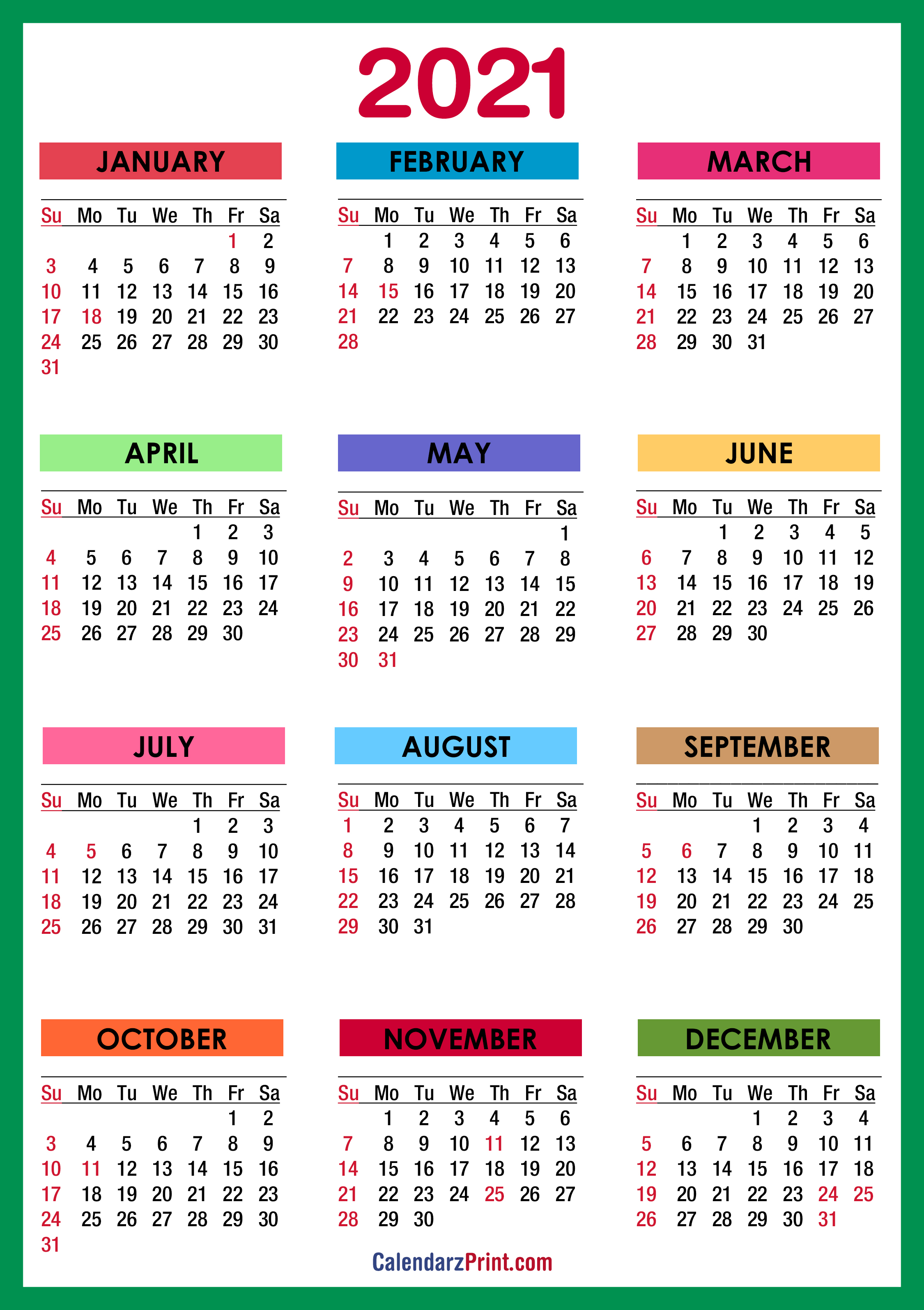 2021 Calendar with Holidays, Printable Free, Colorful ...