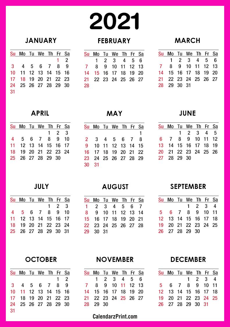 2021 Calendar Printable Free with USA Holidays, Pink ...