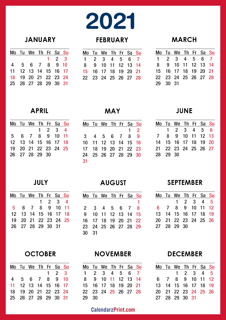 Holidays Calendar 2021 Usa 2021 Calendar Printable Free with USA Holidays, Red – Monday Start