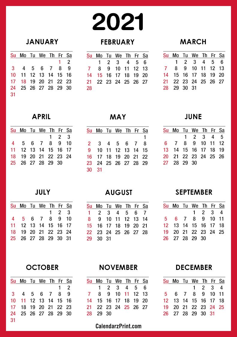 2021 Calendar with US Holidays, PDF - Printable, Red, SS ...