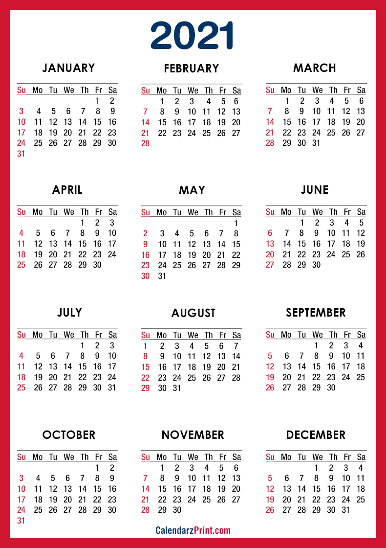 2021 Calendar PDF - Printable, Red, SS - CalendarzPrint ...