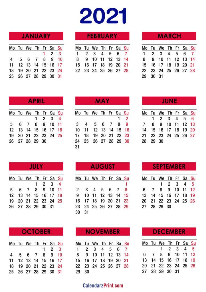 2021 Calendar Printable Free, Colorful - Monday Start ...