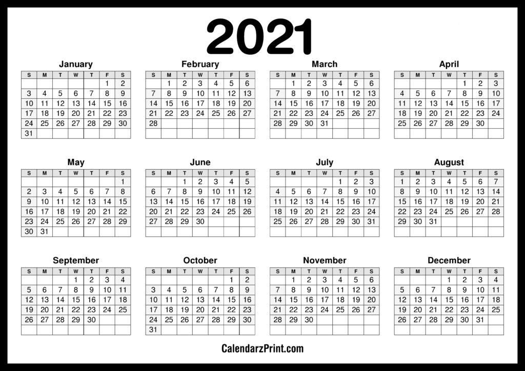 Printable 2021 Calendar - CalendarzPrint | Free Calendars ...