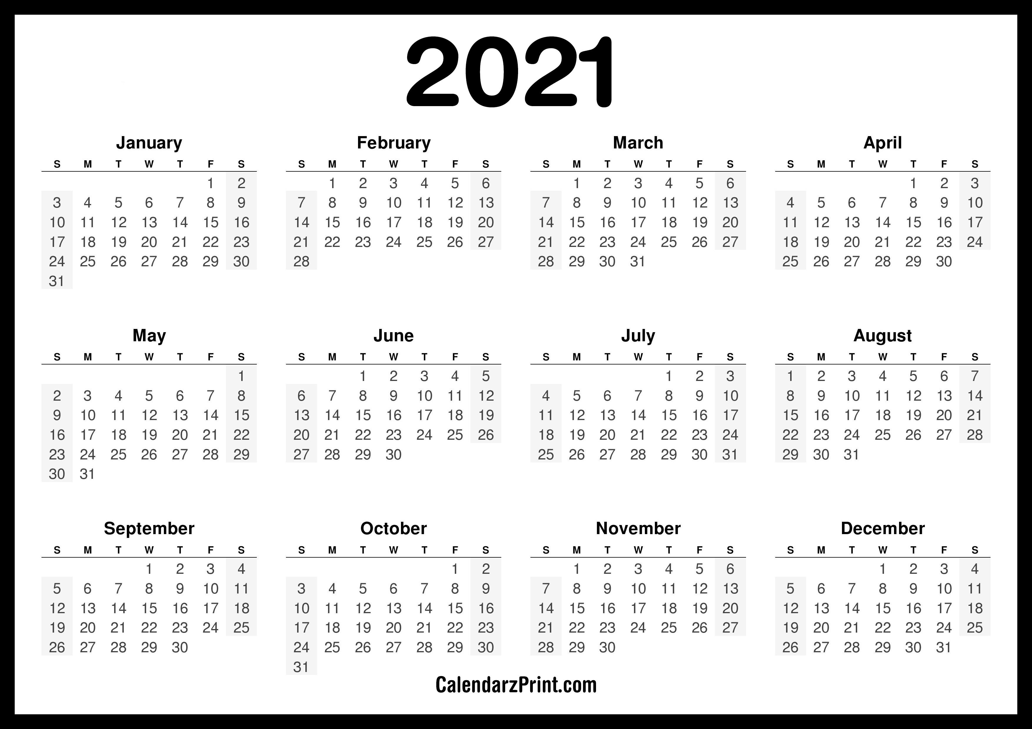 2021 Calendar Printable Free, Horizontal, HD, Black ...
