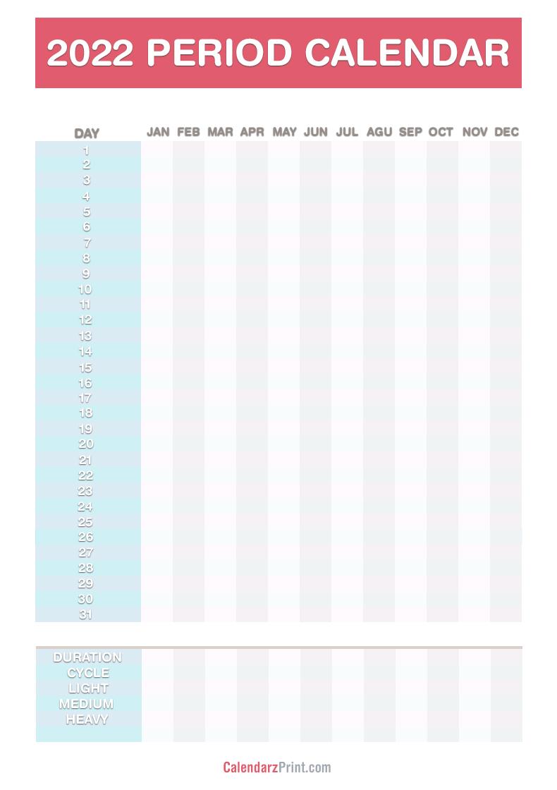 Psu Calendar Fall 2022.2022 Period Calendar Free Printable Pdf Jpg Red Blue Calendarzprint Free Calendars Printable Calendars